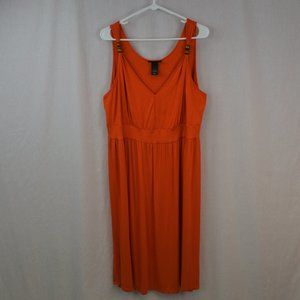 Lane Bryant Orange sleeveless v neck dress.